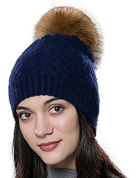 URSFUR Unisex Herbst Winter weiche und elastische Mütze aus Baumwoll mit Bommel aus Fuchspelz / Waschbär Fell...