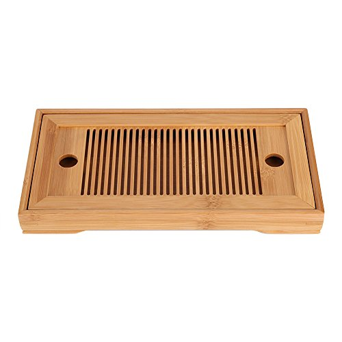 Fdit Tasteful Bamboo Japanese/Chinese Gongfu Tea Table, Serving Tray Box Reservoir & Drainage Type for Teahouse Home Office