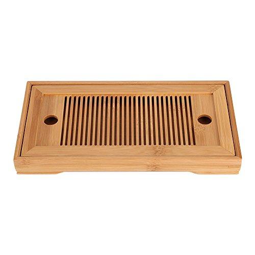 Aufee Gongfu Tee Serviertablett, Tee-Tablett aus Bambus Chinesischen Gongfu Tee Tisch für Chinesische Teezeremonie, 27 * 14 * 3 cm