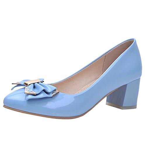 MissSaSa Donna Scarpe col Tacco Metà Spicco e Elegante Blue