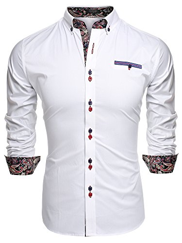 Coofandy Men's Fashion Slim Fit Dress Shirt Casual Exotic Shirt X-Large White