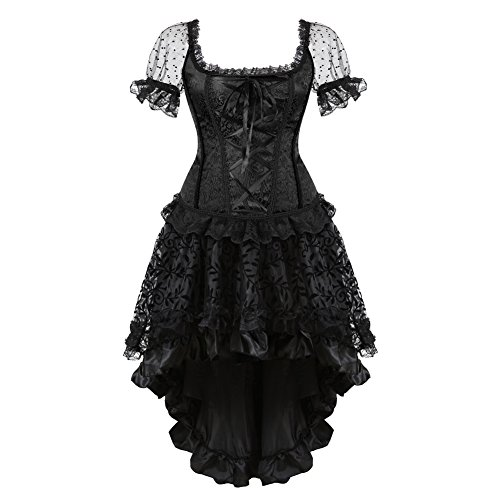 Wedding Lace Strap Corsets with Skirt Set (EUR(48-50) 6XL, Black)