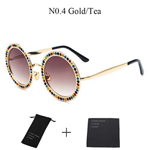 DAIYSNAFDN Runde Metall kristall Diamant Sonnenbrille Frauen Modedesigner Damen Sonnenbrille N0.4