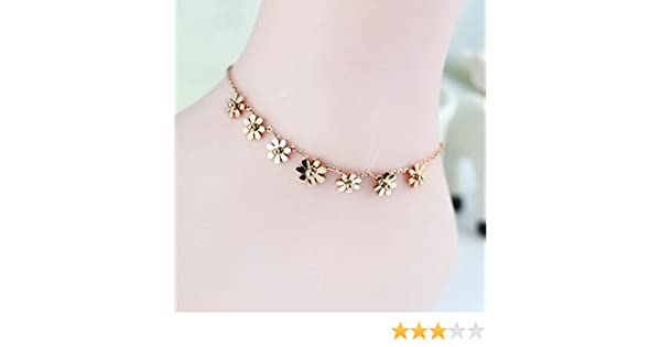 8+2 Dlakela Rose Gold Plated Stainless Steel Cable Chain Anklet