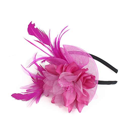 bloatboy  Haarschmuck Damen, Feder Fascinators Blumen Mesh Hochzeit Braut Elegant Fascinator Haarreif Cocktail Tee Party Damen Fasching Kostüm Accessoires (Pink)