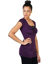 KRISP Damen Schlichte Stretch Bluse Kurzarm Oberteil Jersey Shirt Longline Fit