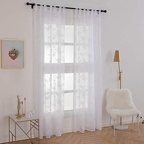 Laneetal Transparente Gardine mit Schlaufen 2 Stücke Fensterschal in Weiß 140x245 cm Dekoschal mit Schmetterlingdruck Fenstervorhang für Schlafzimmer Wohnzimmer Schlaufenschal Vorhang