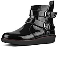 FitflopTM Laila Double Buckle Womens Crinkle Patent Leather Zip Biker Boots