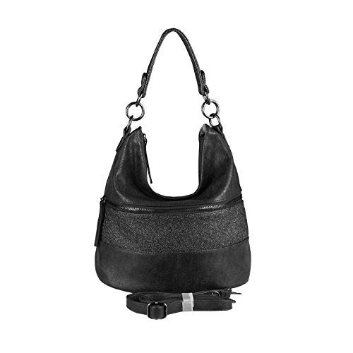 Design Hobo Handtasche (OBC ital-design DAMEN TASCHE HOBO-BAG Shopper Henkeltasche Handtasche Schultertasche Umhängetasche Beuteltasche CrossOver Tote-Bag (Schwarz 29x28x20 cm))