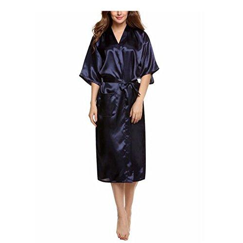 Meijunter Frauen Kimono Robes Morgenmantel Luxus Reine Farbe Schlafanzüge Seide Satin Lange Klassisch Hochzeit Nachtwäsche Bademantel Mit Tasche