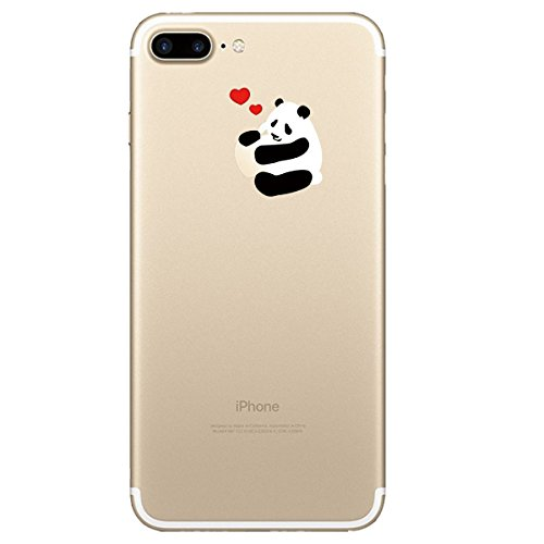 iPhone 7 Plus Hülle, Qissy®Cute panda series Transparent Weiche Silikon Schutzhülle mit Niedlich Muster für Apple iPhone 7 plus 2