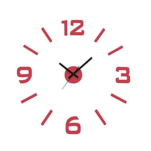 Versa 20060005 Reloj de pared adhesivo Rojo Pegatina, Dimensiones regulables
