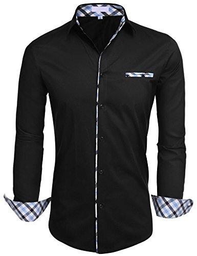 HOTOUCH Herren Hemd Baumwolle Langarmhemd Slim Fit Freizeithemd Bügelleicht, 1-schwarz, L -