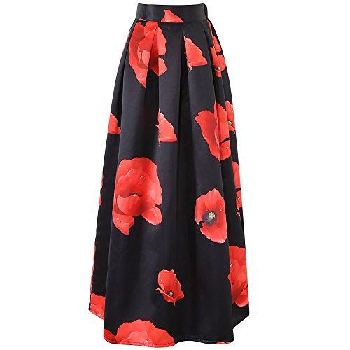 chicing-da-donna-floreale-stampato-gonne-lunghe-black-taglia-unica
