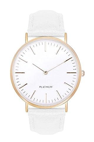 Horloge Chiffres blancs femme couleur or bracelet + différentes couleurs beige marron saumon rose gris noir blanc Montre pour homme Bracelet en cuir Bracelet de montre Mixte Femme Homme Quartz Horloge Günstig Horloge à quartz Bijoux Bijou Fantaisie, Weiß