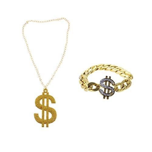 en $-Symbol Anhänger Halskette + Dollar Armband für Erwachsene Hip-Hop Kostüm (Dollarzeichen Halskette)