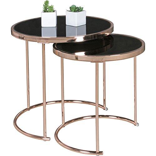 FineBuy Design Couchtisch Deco Glas Kupfer Tisch 2er Set Satztisch Ø 50 & 42 cm | Wohnzimmertisch Glasplatte Schwarz | Beistelltisch Modern verspiegelt | Runder Glastisch Rund Wohnzimmer Metall - Prinzessin Beistelltisch