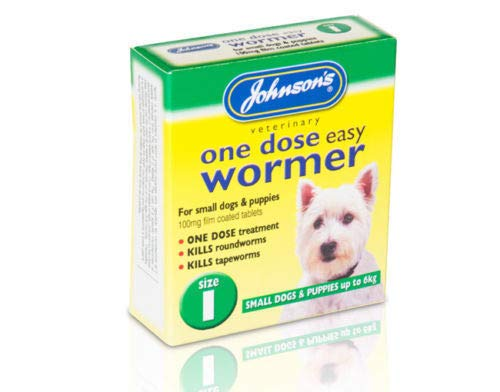 Johnson One Dose Wormer Dog Worming Tablets Roundworm & Tapeworm SIZE 1 Easy Small Dogs Up To 6kg