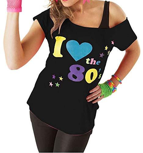 Classy Fashion Femmes J'aime Les années 80 T-Shirt Top Mesdames J'aime Les années 80 Déguisements Poule Nuit Cerf Do Parties T-Shirts Top vêtements de fête des années 80 (Medium/Large, Black)