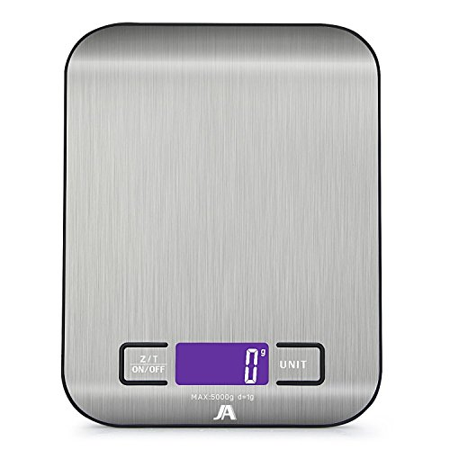 J & A Cocina escala digital, escala de alimentos y médicos, escala de alimentos multifunción con pantalla LCD, acero inoxidable (baterías incluidas) (negro)
