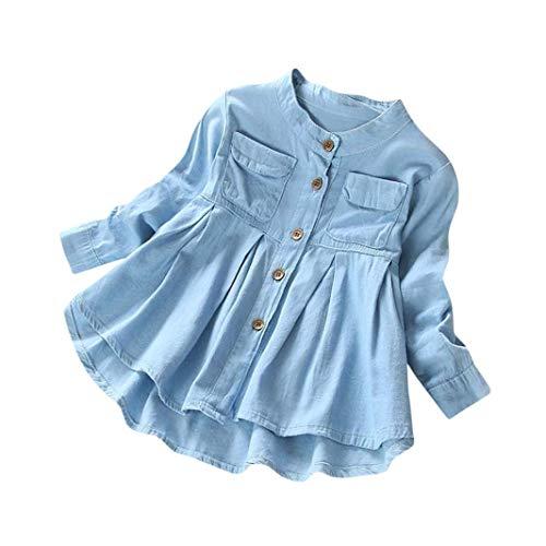 Kinder Kleidung Set, Sonnena Baby Mädchen Rüschen Schulterfrei Crop Tops T-Shirt + Bowknot Gestreift Rock Kurz Kleider Outfits Set Sommer Weich Babykleidung Set Kinderkleider (3 Jahre, Blau2)