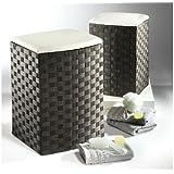 Wäschekorb aus Nylon Farbe schwarz weiß (Sitzhocker)klein