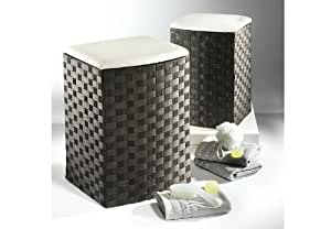panier linge tabouret blanc et noir en nylon petit. Black Bedroom Furniture Sets. Home Design Ideas