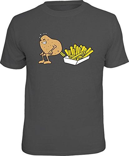 Lustiges Sprüche T-Shirt Set mit Mini T-Shirt Kartoffel Pommes frites lustiges Geschenk Geschenkartikel Anthrazit