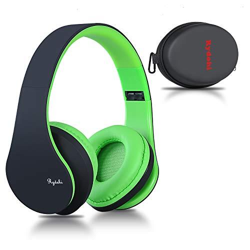 Bluetooth Over Ear Kopfhörer, Rydohi Wireless Stereo Headset Klappbares Kopfhörer mit Integriertem Mikrofon/FM Radio /MP3 Player für iPhone, Android, PC-Schwarz Grün