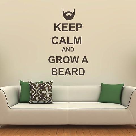 Manten La Calma Y Dejar Crecer La Barba Pegatina de Pared. Arte de Pared Manten La Calma disponible en 5 tamaños y 25 colores Medio