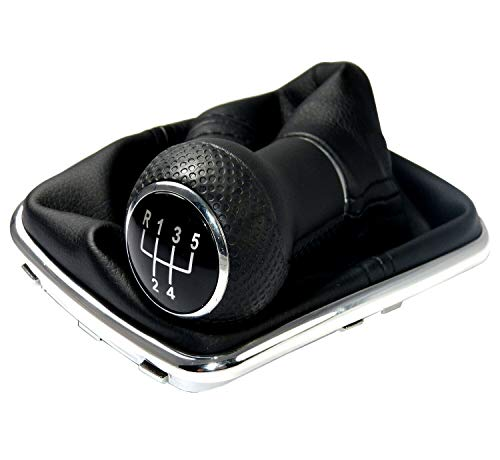 Optimumparts24 Schaltsack Schaltmanschette passend für Golf Bora Leon 1M Toledo in Schwarz + Schaltknauf + Rahmen mit 5 Gang mit 23mm Knauf als Plug Play