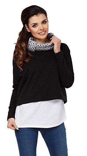 Zeta Ville - Sweat-shirt d'allaitement col bénitier top maternité - femme - 795c Noir