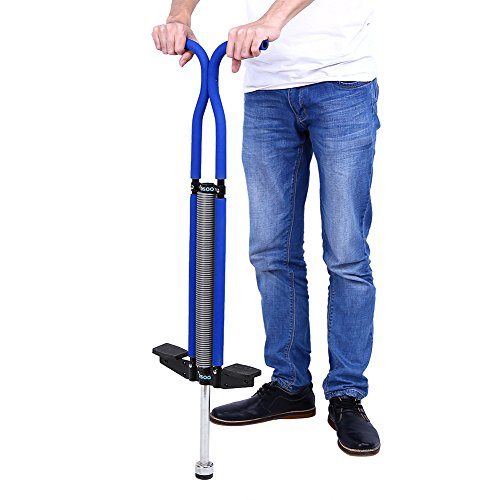 GOTOTOP Bâton Sauteur Double Barre Construction Solide Pogo Stick pour Enfants 7~12 Ans et Pesant jusqu'à 60Kg (Bleu)