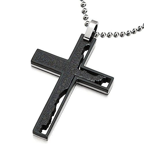 Irregulär Zwei-Schichten Design Herren Kreuz Anhänger Halskette aus Edelstahl Silber Schwarz Zwei Töne, 75cm Kugelkette (Halsketten Paare Kreuz Für)