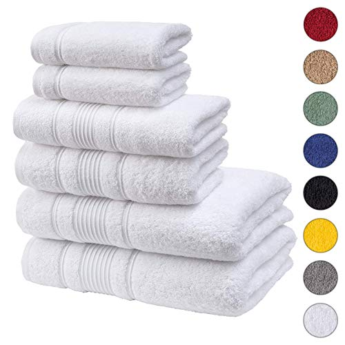 Qute Home Spa & Hotel Handtuch-Set, 6-teilig, 2 Badetücher, 2 Handtücher und 2 Waschlappen Modern Towel Set of 6 weiß