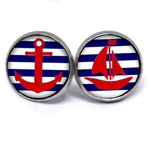 JUANLOWE Anker & Segelboot maritime Ohrringe, silberfarbene Ohrstecker aus Edelstahl mit Cabochon, Stecker Ankerohrringe, blau weiß gestreift rot