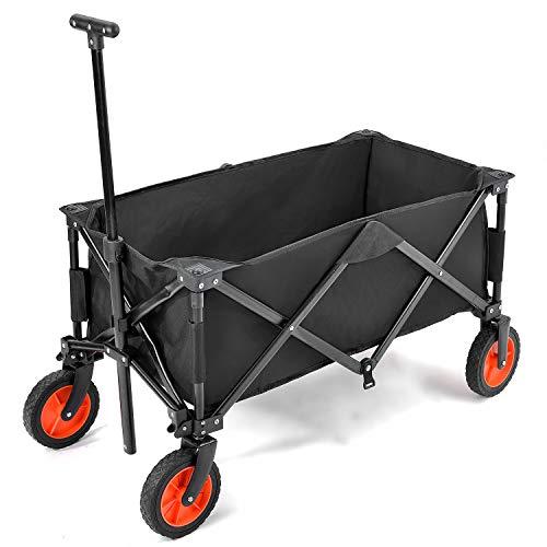 Merax Bollerwagen Faltbar, Outdoor Faltbarer Handwagen mit Abnehmbarem Stoff für Vatertag Einkaufen Teleskopgriff, Freier Tragetasche,Gewichtkapazität 150 kg (Schwarz)