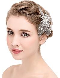 YAZILIND Elegante Tocado de Belleza de la Mujer Nupcial de la Boda Broche de Pelo de Fiesta cz Perla de aleacion de Perlas Accesorios de Mujer