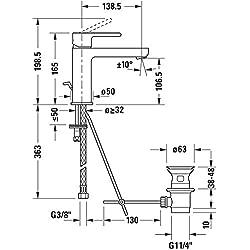 Duravit B21020001 Waschtischarmatur / Waschtischmischer B.2 , Größe M | Armatur mit Keramik Kartusche, Ablauf und flexiblen Anschlüssen | Ausladung: 139 mm, Betriebsdruck: 3 - 5 bar, Chrom