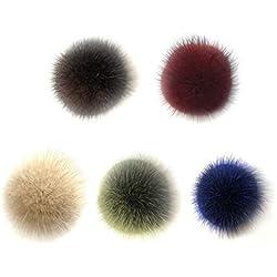 Vosarea Bola de Pompón de Pelo de Zorro Accesorios Desmontables para Tejer Sombrero de Lana de Punto Gorro de Invierno Gorro de Esquí 5.5cm (Color Surtido) 5 Piezas