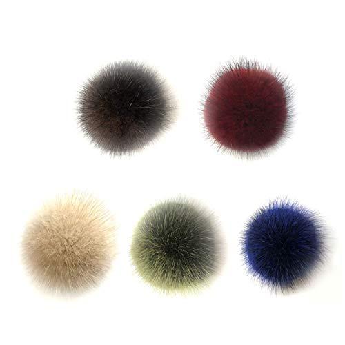 Vosarea sfera di pon pon di pelliccia di volpe accessori rimovibili per tessere cappello di lana di punto cappello invernali cuffia da sci 5.5cm (colore assortimento) 5pezzi