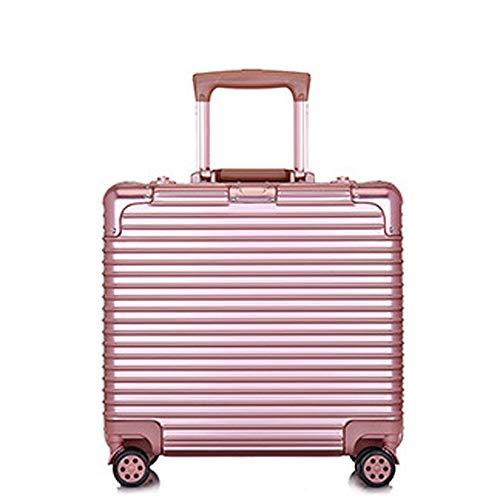 DEFfd Cassa in alluminio da 18 pollici Caso di imbarco della password Caso PC + ABS Valigia trolley universale (colore : Oro rosa)