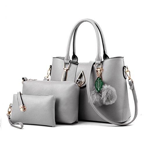 Le signore di modo un insieme tre parti della borsa di cuoio della borsa della borsa della borsa della borsa dell'unità di elaborazione delle donne Grigio