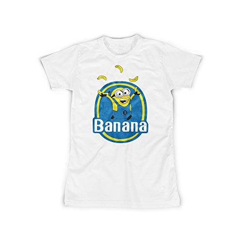 t mit Aufdruck in Weiß Gr. M Kleine Gelbe Monster Banana Design Girl Top Mädchen Shirt Damen Basic 100% Baumwolle Kurzarm (Minion Kinder Outfit)