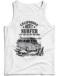 84100f66a lepni.me Camisetas de Tirantes para Hombre Mejor Surfista de California -  Vacaciones de Verano