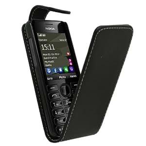Samrick Specially Designed Leather Flip Case for Nokia Asha 206 RM 872 - Black