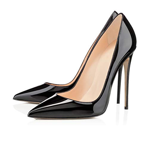 Onlymaker Women's Classic Pointed Toe Black Genuine Leather High Heels Slip On Stiletto Pumps Dress High Heel Modern Basic Pump Stiletto Black EU38 Black Pointed Toe