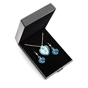 Kristallwerk Kinder Schmuckset, Kette und Ohrringe 925 Silber mit Swarovski Elements Herzanhänger Farbe Blue AB und Gravur Buchstabe A – Z