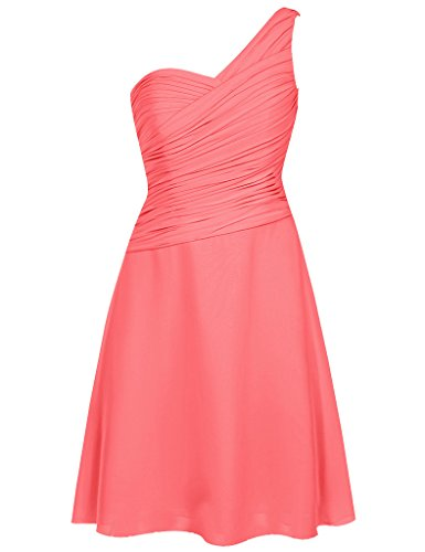 HUINI Damen Kleid Korallenrot
