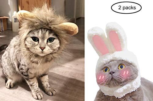 Jashem Löwenmähne Perücke Kostüm für Katzenkostüm Kaninchen Hut Kopfbedeckung mit Ohren Cosplay Verkleidung für Halloween Party Kostüm Zubehör Perfekt für Katzen und Welpen